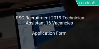 LPSC Recruitment 2019 Technician Assistant 16 Vacancies