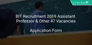 BIT Recruitment 2019 Assistant Professor & Other 47 Vacancies