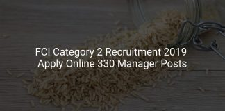 FCI Category 2 Recruitment 2019