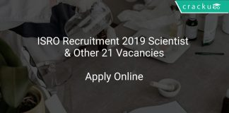 ISRO Recruitment 2019 Scientist & Other 21 Vacancies