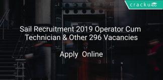 Sail Recruitment 2019 Operator Cum Technician & Other 296 Vacancies