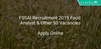 FSSAI Recruitment 2019 Food Analyst & Other 50 Vacancies