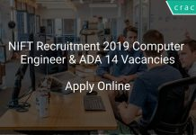 NIFT Recruitment 2019 Computer Engineer & ADA 14 Vacancies
