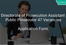 Directorate of Prosecution Assistant Public Prosecutor 47 Vacancies