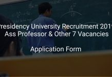 Presidency University Recruitment 2019 Ass Professor & Other 7 Vacancies