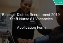 Balangir District Recruitment 2019 Staff Nurse 81 Vacancies