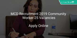 MCD Recruitment 2019 Community Worker 25 Vacancies