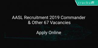 AASL Recruitment 2019 Commander & Other 67 Vacancies