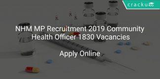 NHM MP Recruitment 2019 Community Health Officer 1830 Vacancies