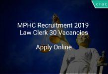 MPHC Recruitment 2019 Law Clerk 30 Vacancies
