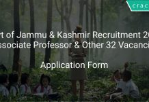 Govt of Jammu & Kashmir Recruitment 2019 Associate Professor & Other 32 Vacancies