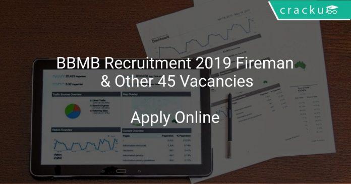 BBMB Recruitment 2019 Fireman & Other 45 Vacancies