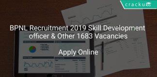 BPNL Recruitment 2019 Skill Development officer & Other 1683 Vacancies