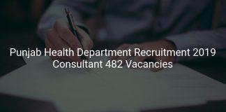 Punjab Health Department Recruitment 2019