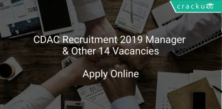 CDAC Recruitment 2019 Manager & Other 14 Vacancies