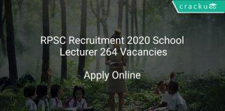 RPSC Recruitment 2020 School Lecturer 264 Vacancies