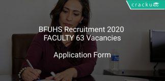 BFUHS Recruitment 2020 FACULTY 63 Vacancies
