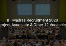IIT Madras Recruitment 2020