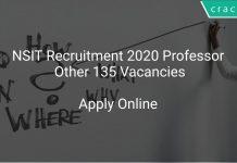NSIT Recruitment 2020 Professor Other 135 Vacancies