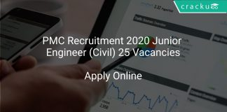 PMC Recruitment 2020 Junior Engineer (Civil) 25 Vacancies