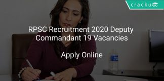 RPSC Recruitment 2020 Deputy Commandant 19 Vacancies