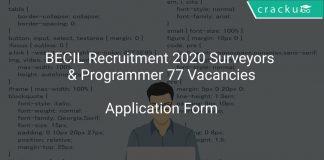 BECIL Recruitment 2020 Surveyors & Programmer 77 Vacancies