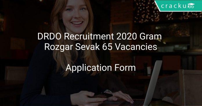 DRDO Recruitment 2020 Gram Rozgar Sevak 65 Vacancies