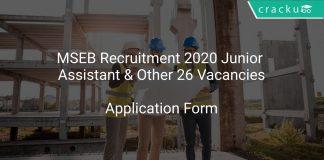 MSEB Recruitment 2020 Junior Assistant & Other 26 Vacancies