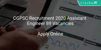 CGPSC Recruitment 2020 Assistant Engineer 89 Vacancies