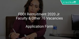 FDDI Recruitment 2020 Jr Faculty & Other 76 Vacancies