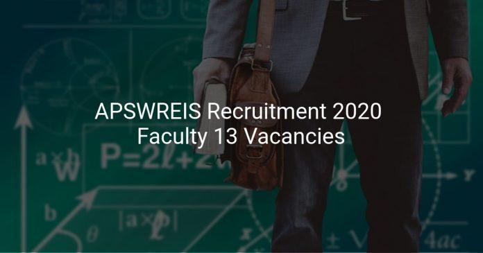 APSWREIS Recruitment 2020