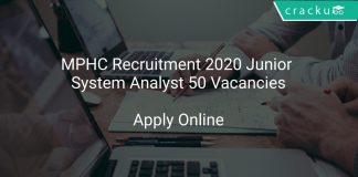 MPHC Recruitment 2020 Junior System Analyst 50 Vacancies