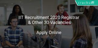 IIT Recruitment 2020 Registrar & Other 30 Vacancies
