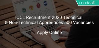 IOCL Recruitment 2020 Technical & Non-Technical Apprentices 500 Vacancies