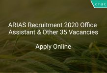 ARIAS Recruitment 2020 Office Assistant & Other 35 Vacancies