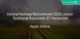 Central Railway Recruitment 2020 Junior Technical Associate 37 Vacancies