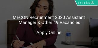 MECON Recruitment 2020 Assistant Manager & Other 49 Vacancies