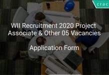 WII Recruitment 2020 Project Associate & Other 05 Vacancies