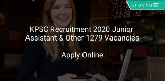 KPSC Recruitment 2020 Junior Assistant & Other 1279 Vacancies