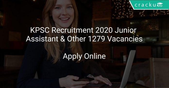 KPSC Recruitment 2020 Junior Assistant & Other 1279 Vacancies