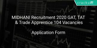 MIDHANI Recruitment 2020 GAT, TAT & Trade Apprentice 104 Vacancies