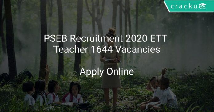 PSEB Recruitment 2020 ETT Teacher 1644 Vacancies