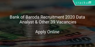 Bank of Baroda Recruitment 2020 Data Analyst & Other 39 Vacancies