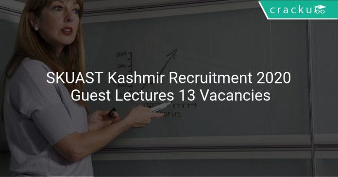 SKUAST Kashmir Recruitment 2020