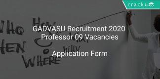 GADVASU Recruitment 2020 Professor 09 Vacancies
