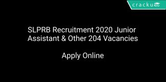 SLPRB Recruitment 2020