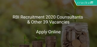 RBI Recruitment 2020 Counsultants & Other 39 Vacancies