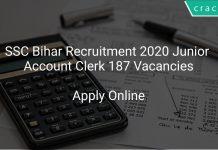 SSC Bihar Recruitment 2020 Junior Account Clerk 187 Vacancies