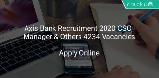Axis Bank Recruitment 2020 CSO, Manager & Others 4234 Vacancies