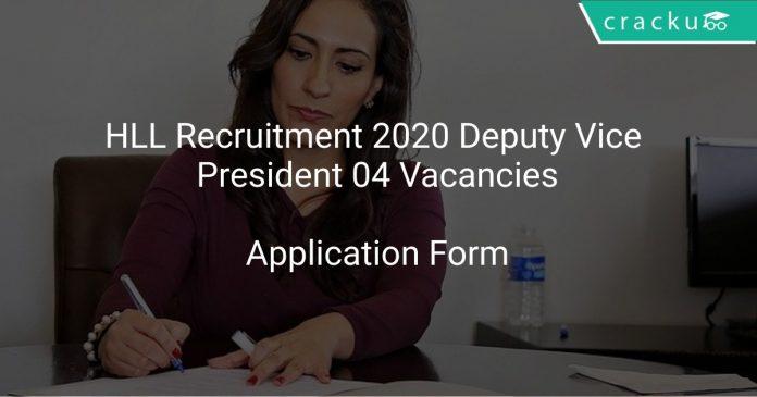 HLL Recruitment 2020 Deputy Vice President 04 Vacancies
